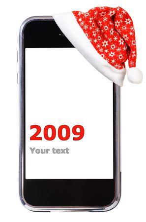 산타 모자: Santa Hat and modern smartphone. Studio isolated on white background.