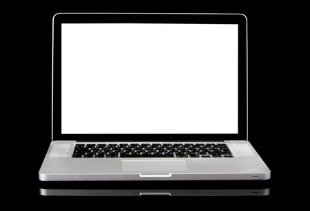 Modern silver laptop with white screen, black frame screen and black keyboard. Isolated on a black background. Stock Photo