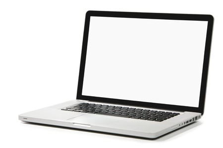 Modern silver laptop with white screen, black frame screen and black keyboard. Isolated on a white background. Stock Photo - 3983576