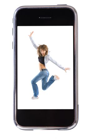 Smartphone and dancing girl isolate on white background