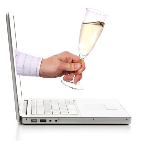 A champagne glass. A toast of your friend on the Internet. Isolated on white. Stock Photo