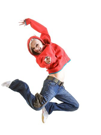 Studio isolated. Woman in red is jumping up Stock Photo