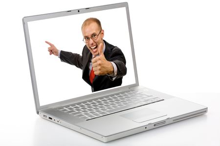 Silver laptop isolated in studio and very happy man in white screen.