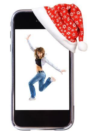 persona: Dance woman in modern smartphone. Christmas team. Studio isolated on white background.