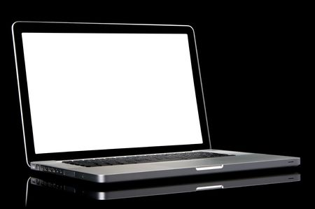 New silver laptop with white screen, black frame screen and black keyboard. Isolated on a black background.