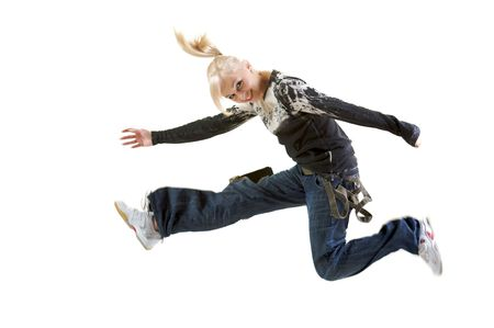 Woman in mid air jumping isolated on a white background, caucasianwhite, age 21-30.