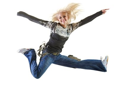 Isolated picture of beautiful young woman blond long hair and happy smiling facial expression jumping very up.