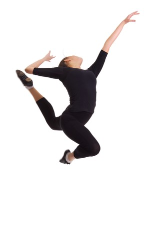 air jump: Ballerina in a black suit in the air (jump). Isolation on a white background in the studio. Stock Photo
