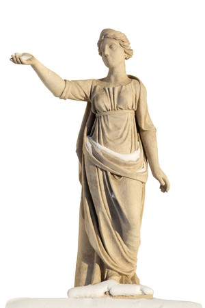 Sculpture of ancient women covered with snow  Latona (Leto) - tatinida, the daughter of Titans Coeus and Phoebe. Beloved of Zeus, mother of Apollo and Artemis. Sculpted SS Pimenov. 1822
