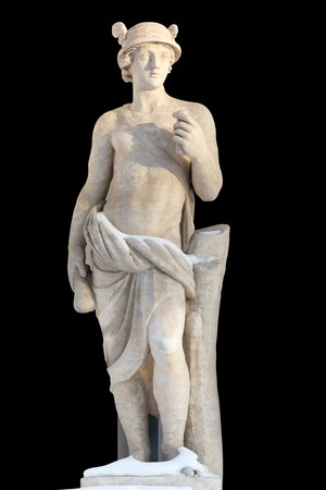 greek gods: Sculpture of ancient man covered with snow Mercury  was a messenger and a god of trade, profit and commerce, the son of Maia Maiestas, also known as Ops, the Roman version of Rhea, and Jupiter. Sculpted S.S. Pimenov. 1822