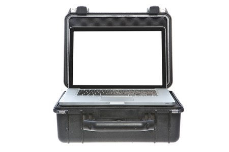 watertight: Case for protecting laptop with white screen. Studio shot. Isolation on white background. Front view.