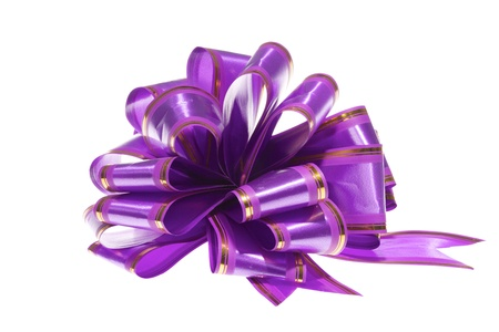 Image of purple decorative bow isolated on white background photo
