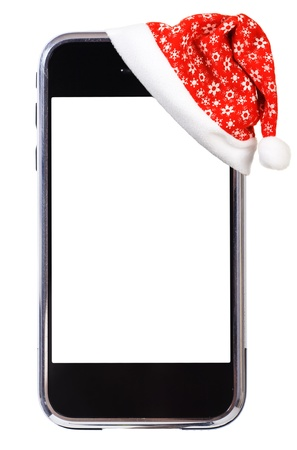 palm computer: Santa Hat and modern smartphone. Studio isolated on white background.