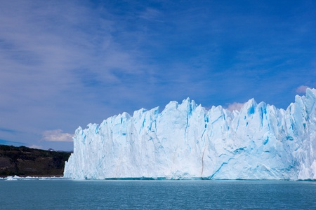 Photo of the glacier ( Perito Moreno ) from the lake closeup. photo