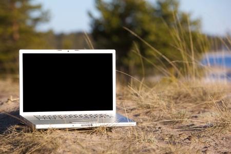 Bild von Laptop auf einem Natur.