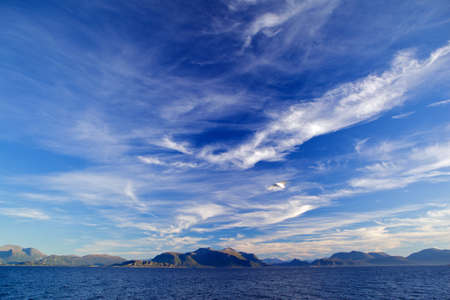paysage: Landscape of sky with clouds and North Sea on mountains background Stock Photo