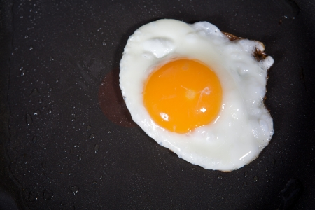 frying: A fried egg in a frying pan  Stock Photo