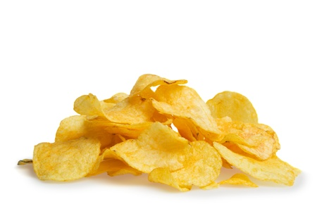 potatoe: A pile of potato chips isolated on a white background Stock Photo
