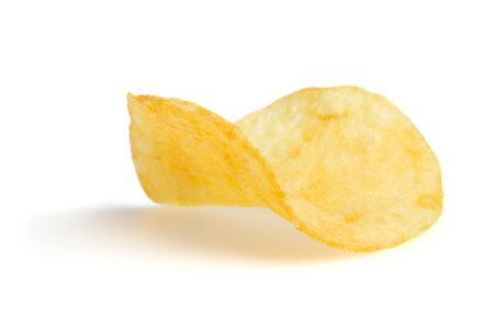 One potato chips isolated on a white background and shadow photo