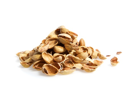 A pile nutshell of pistachios  isolated on A-bomb white background