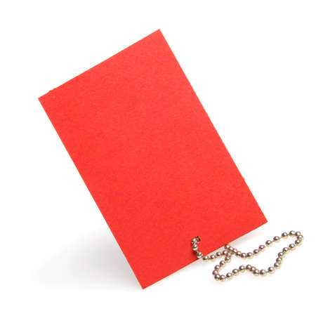 Empty red paper label with  shadow photo