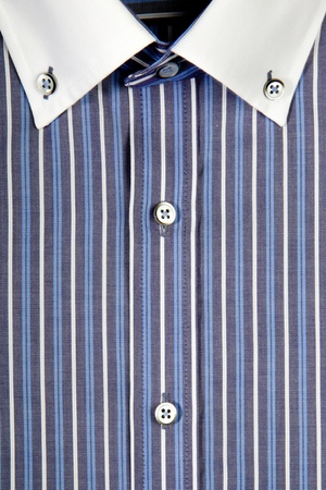 linen texture: Blue mens shirt with white collar Stock Photo