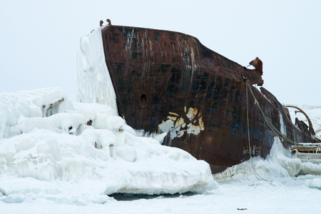 Abandoned ship in the ice