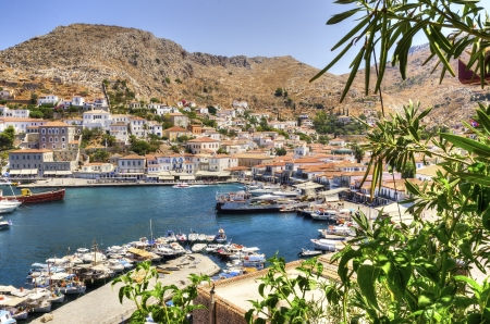 A view of the port on the Greek Island, Hydra photo