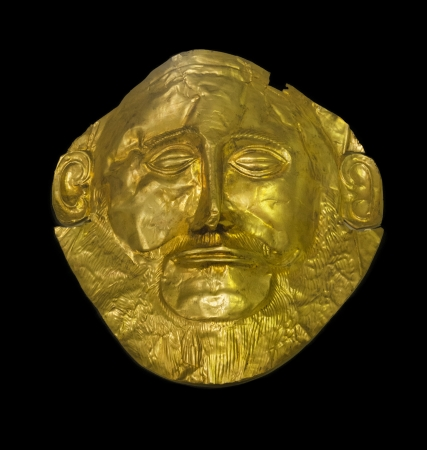 historical sites: The golden mask of Agamemnon, the king of Mycenae and leader of Trojan War