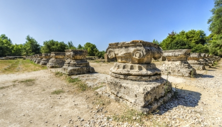 athenians: Ruins of the ancient site of Olympia, in Greece. Stock Photo