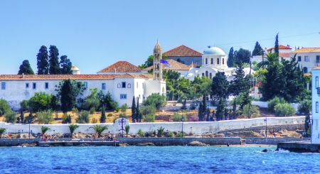 A view of the port of the beautiful Greek Island, Spetses Stock Photo