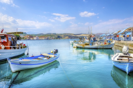 A view of the port and coastline in Gythion. photo