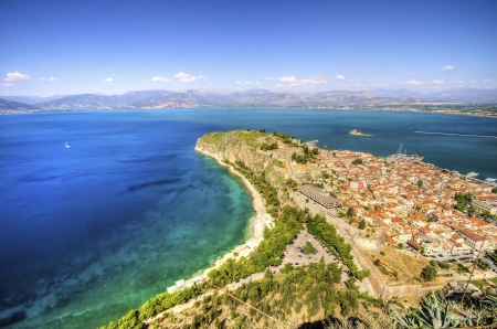 An aerial view of the gorgeous city Nafplio, in Greece