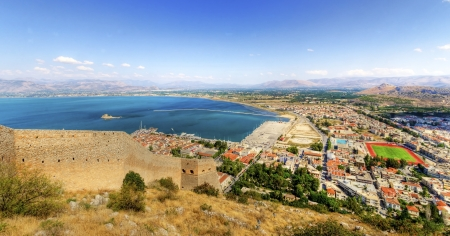 bourtzi: An aerial view of the gorgeous city Nafplio, in Greece