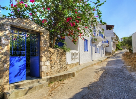 A picturesque alley on the Greek island Spetses.