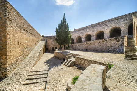 historical sites: A view of Palamidi castle in Nafplio, the first capital of Greece. Stock Photo