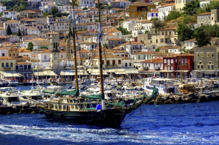 A sailing boat crossing the Aegean sea to the Greek islands photo