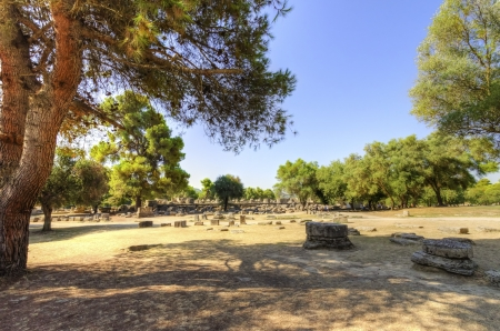 athenians: Ruins of the ancient site of Olympia, in Greece Stock Photo
