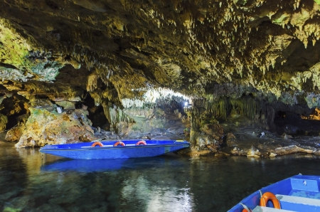 The magnificent and majestic caves of Diros in Greece.