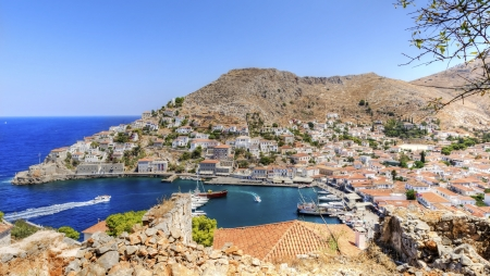 A view of the port on the Greek Island, Hydra