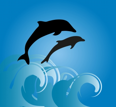 Two dolphins jumping on a wave Stock Vector - 20538876
