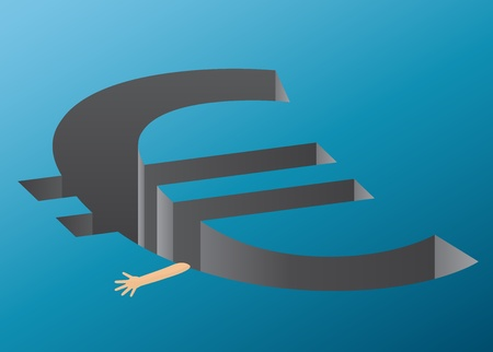 A hand trying to hold on to the euro cliff - representing the euro crisis Vector