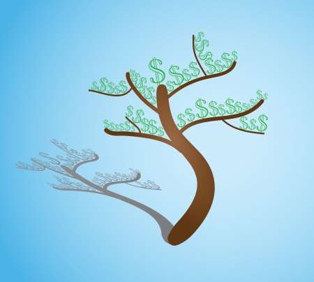 A tree growing money on its branches Vector