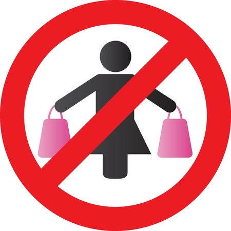 woman holding money: A woman carrying shopping bags in each hand Illustration