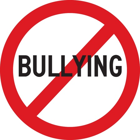 A red sign which does not allow bullying Vector