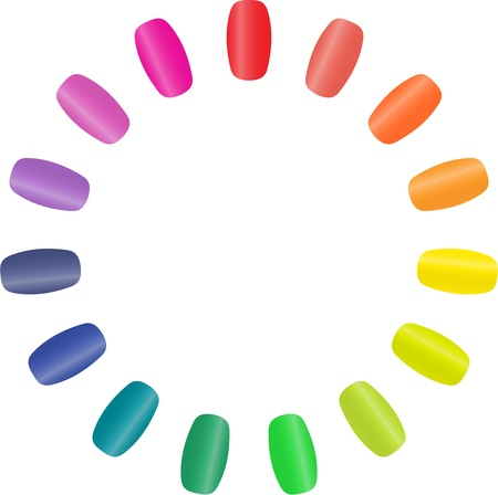 An illustration with colourful nails in a circle forming a circular rainbow