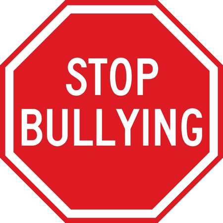 intimidating: A red sign which reads STOP BULLYING Illustration