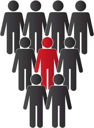 One person standing out from the crowd Vector