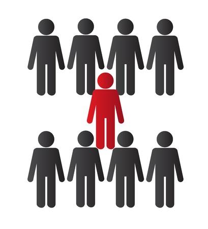 surrounded: Una persona che viene circondato da altre persone Vettoriali