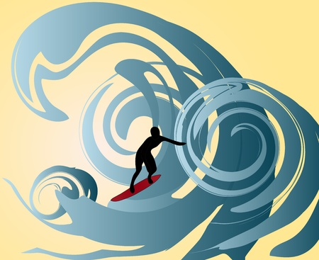 A surfer surfing through the waves Stock Vector - 20538877